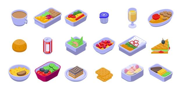 항공사 음식 세트. 흰색 배경에 고립 된 웹 디자인을위한 항공사 음식의 아이소 메트릭 세트