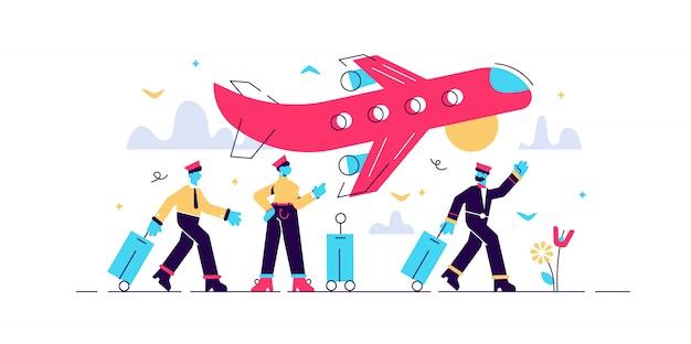 Иллюстрация авиакомпании. плоские крошечные небо транспорт лиц концепции отправление на самолете в международный пункт отдыха. авиатор, бортпроводники, пилот и стюардесса.