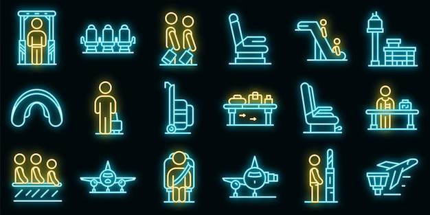Набор иконок пассажиров авиакомпании вектор неон