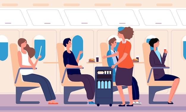 Авиакомпания. человеческий транспорт, стюардесса подавала напитки и еду. женщина пьет мужчин едят
