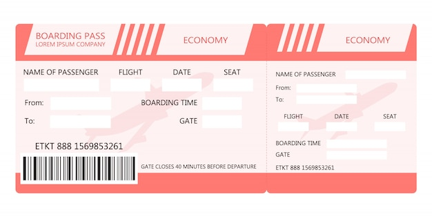Airline ticket or boarding pass for traveling by plane