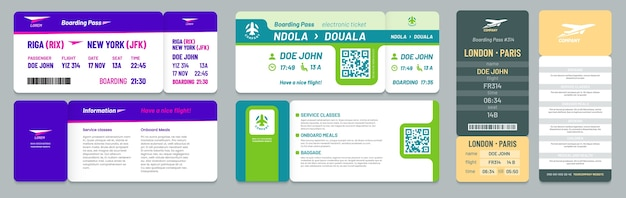 Airline tickets. airplane boarding pass, travel flight invitation and business airplane trip ticket