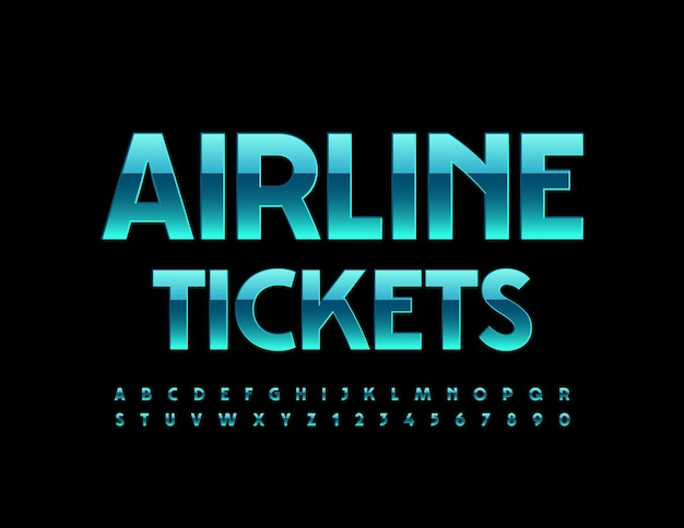 Airline tickets blue shiny font elegant alphabet letters and numbers set