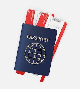 あらゆる目的に最適な航空券。パスポートと航空券の手。図。