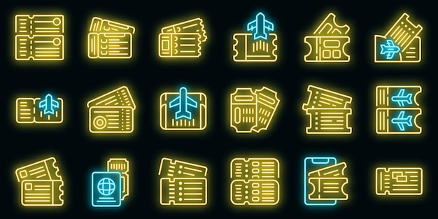 Airline tickets icons set vector neon