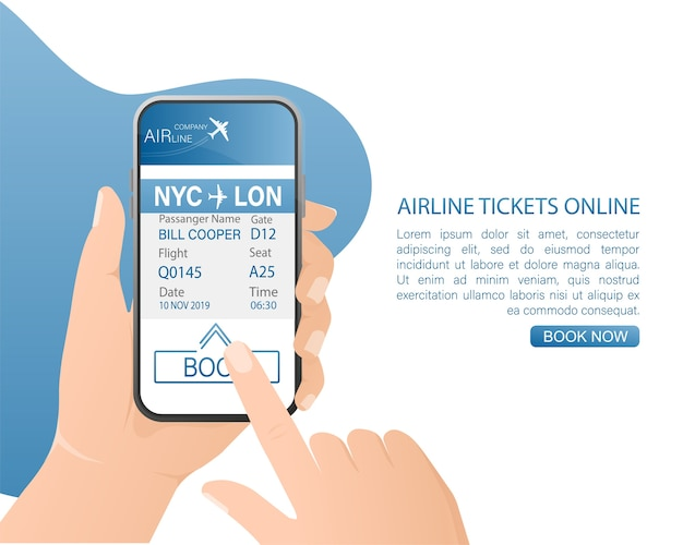 Airline tickets online with hands and smartphone in  .   illustration.