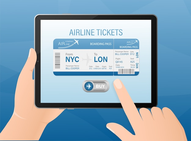 Airline tickets online with hands and tablet in  .   illustration.