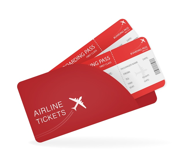 Airline tickets for paper . creative . travel .  illustration.