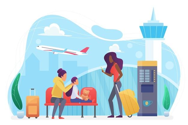 Авиакомпания, люди, туристы ждут полета в современном аэропорту, семейные путешествия