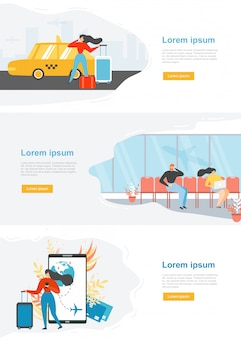 Airline travel web service site vector template