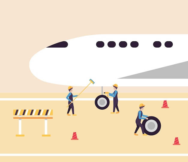 飛行機をチェックする航空会社の労働者