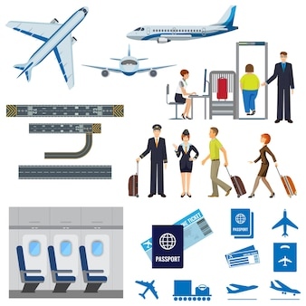 Airline working process signs collection on white.  poster of flying passenger aircrafts, interior of plane, check-in procedure, pilot and stewardess, people with suitcases, passport and ticket