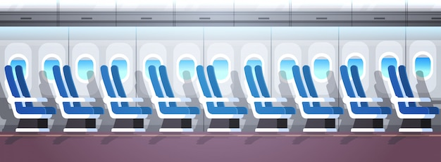 Airliner passenger seats row with portholes