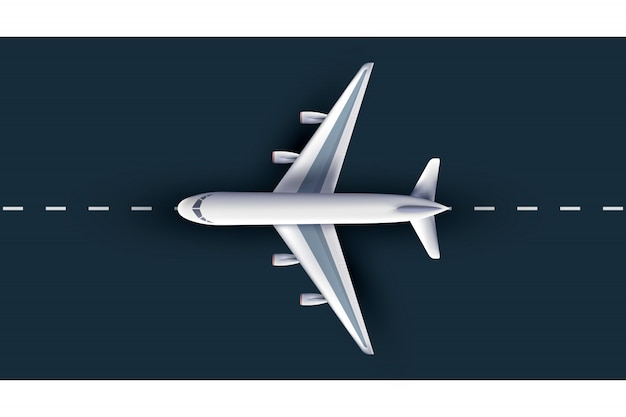 Airliner view from above, realistic 3d plane. passenger plane on runway, high detailed 3d airliner,