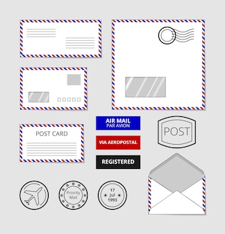 Airmail envelopes, postcard and badges set. post stamp on letter
