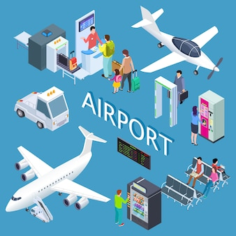 Airoport isometric set with waiting area, snack bar, check-in desk, arplanes  illustration
