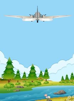 숲 위로 비행하는 비행기