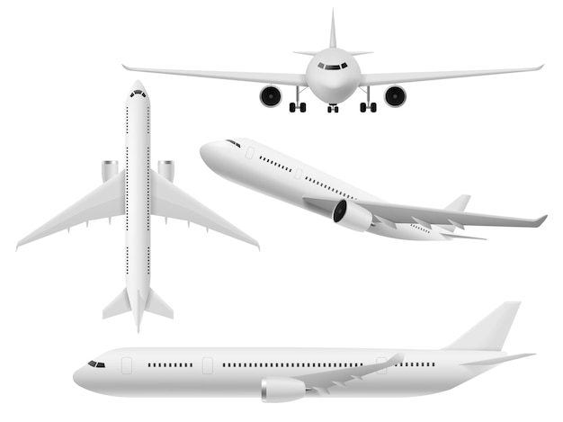 飛行機3d。旅客機の上面図、側面図、正面図。さまざまな角度で飛行する航空機、白い航空輸送、商用旅行、旅行航空旅客機の現実的なベクトル分離セット