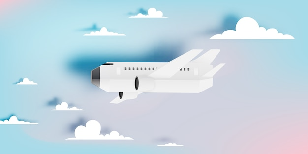 Airplane aerial view paper art with beautiful background vector illustration