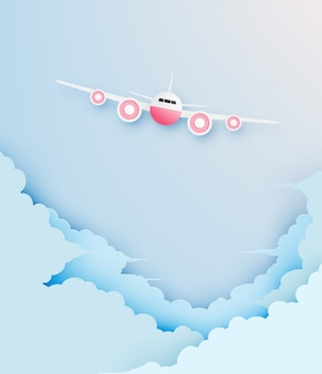 Airplane aerial view paper art with beautiful background