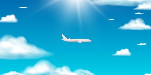 아름 다운 배경으로 비행기 공중보기 종이 예술