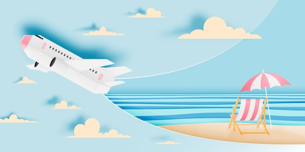 Airplane aerial view paper art with beautiful ocean background vector illustration