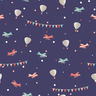 Airplane and air balloon seamless pattern