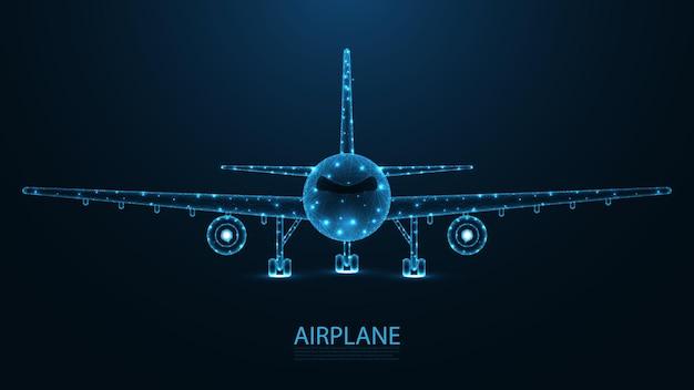 飛行機、航空会社の正面図のライン接続。低ポリワイヤーフレームデザイン。抽象的な幾何学的な背景。ベクトルイラスト。
