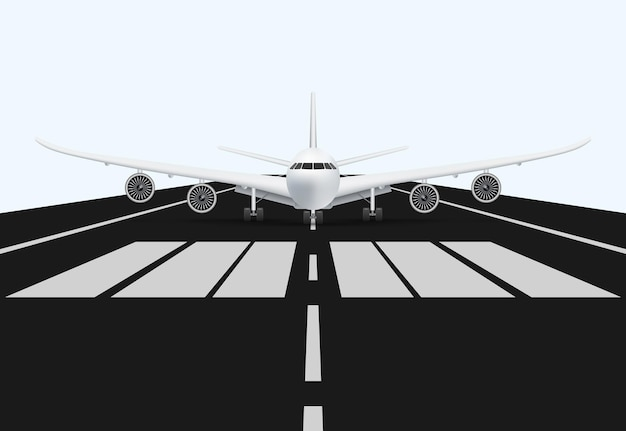 Airplane on airport runway for take off