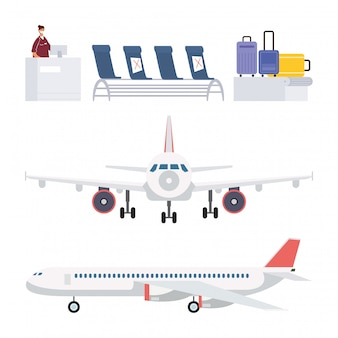 Airplane and airport set elements