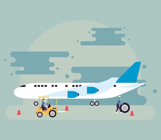飛行機と航空会社の労働者