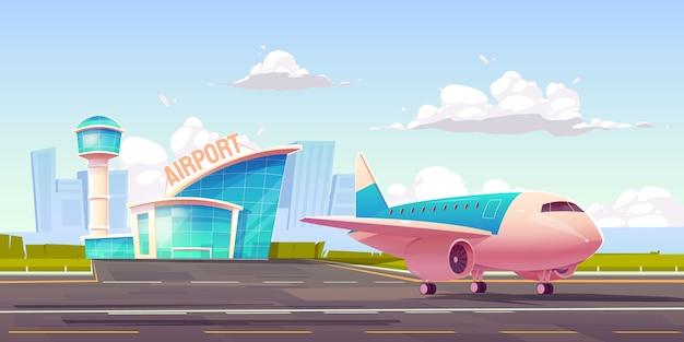 Иллюстрированный фон самолета и аэропорта