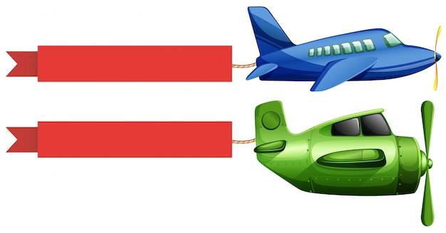 飛行機と赤の広告リボン