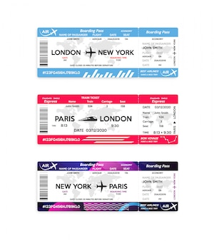 飛行機と電車の搭乗券は、白で隔離されます。旅行、旅または出張の概念。