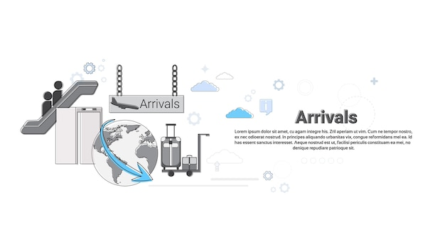 Airplane arrivals transportation air tourism web banner vector illustration