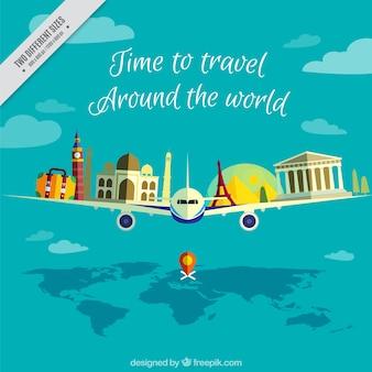 Sfondo aereo con monumenti del mondo
