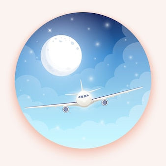 Airplane on blue background with moon and stars.