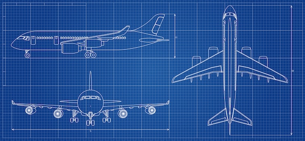 Airplane blueprint. outline aircraft. vector illustration