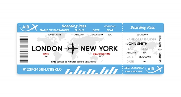 Airplane boarding pass ticket isolated on white background