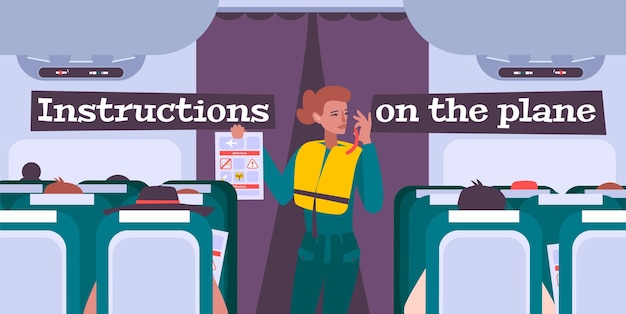 Airplane briefing illustration with female flight attendant giving safety instructions to passengers