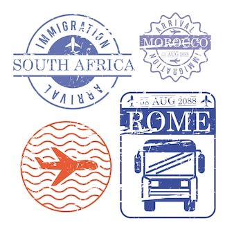 Airplane and bus travel stamps