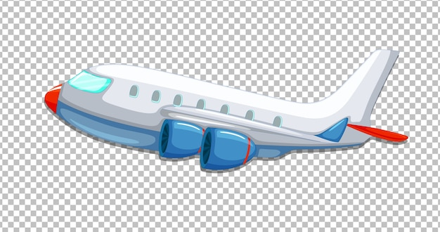 Airplane cartoon style on transparent