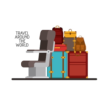 Airplane chair with pile suitcases