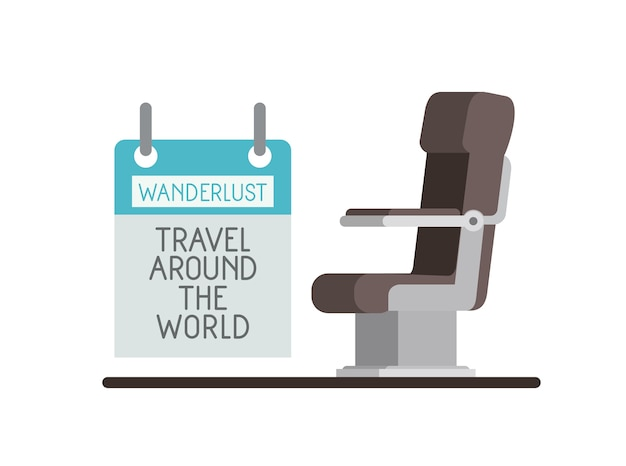 Airplane chair with wanderlust label