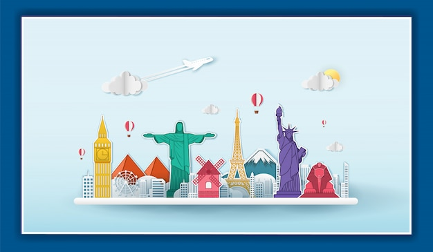 Airplane check in point travel around the world concept on blue background