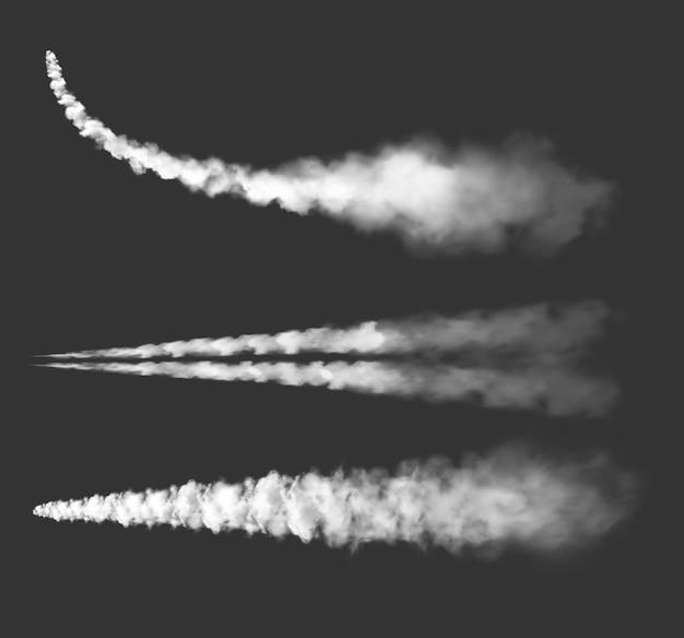 飛行機のケムトレイル、飛行機の煙道、ジェット雲。ロケットカーブとまっすぐな飛行機雲の白い線