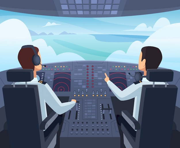 Airplane cockpit. pilots sitting front of dashboard aircraft inside cartoon illustrations
