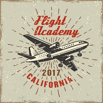 Airplane colored label for flying academy  illustration in retro  with grunge textures and scratches