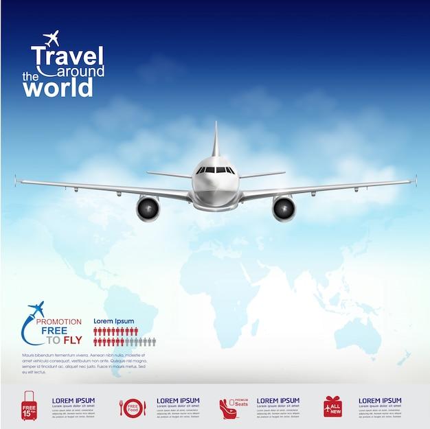 전 세계 여행 무료 비행기 개념