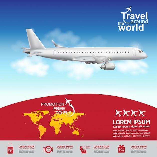세계 서식 파일 비행기 개념 여행